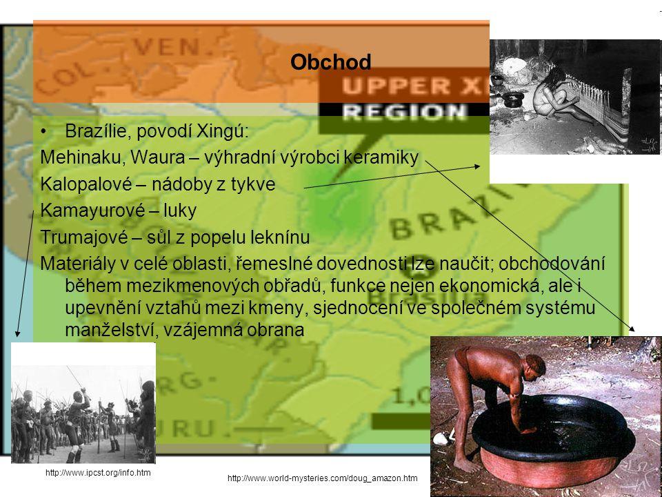 Obchod Brazílie, povodí Xingú: Mehinaku, Waura – výhradní výrobci keramiky Kalopalové – nádoby z tykve Kamayurové – luky Trumajové – sůl z popelu leknínu Materiály v celé oblasti, řemeslné dovednosti lze naučit; obchodování během mezikmenových obřadů, funkce nejen ekonomická, ale i upevnění vztahů mezi kmeny, sjednocení ve společném systému manželství, vzájemná obrana http://www.world-mysteries.com/doug_amazon.htm http://www.ipcst.org/info.htm