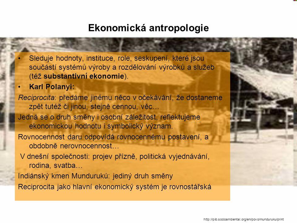 Ekonomická antropologie Sleduje hodnoty, instituce, role, seskupení, které jsou součástí systémů výroby a rozdělování výrobků a služeb (též substantivní ekonomie).