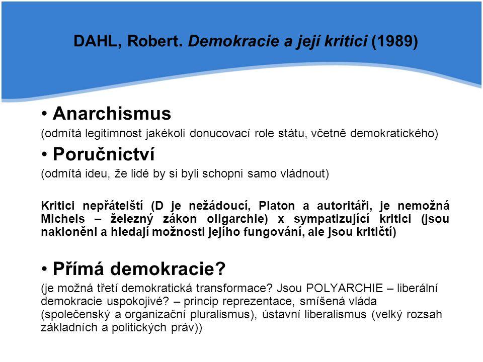 Anarchismus (odmítá legitimnost jakékoli donucovací role státu, včetně demokratického) Poručnictví (odmítá ideu, že lidé by si byli schopni samo vládnout) Kritici nepřátelští (D je nežádoucí, Platon a autoritáři, je nemožná Michels – železný zákon oligarchie) x sympatizující kritici (jsou nakloněni a hledají možnosti jejího fungování, ale jsou kritičtí) Přímá demokracie.