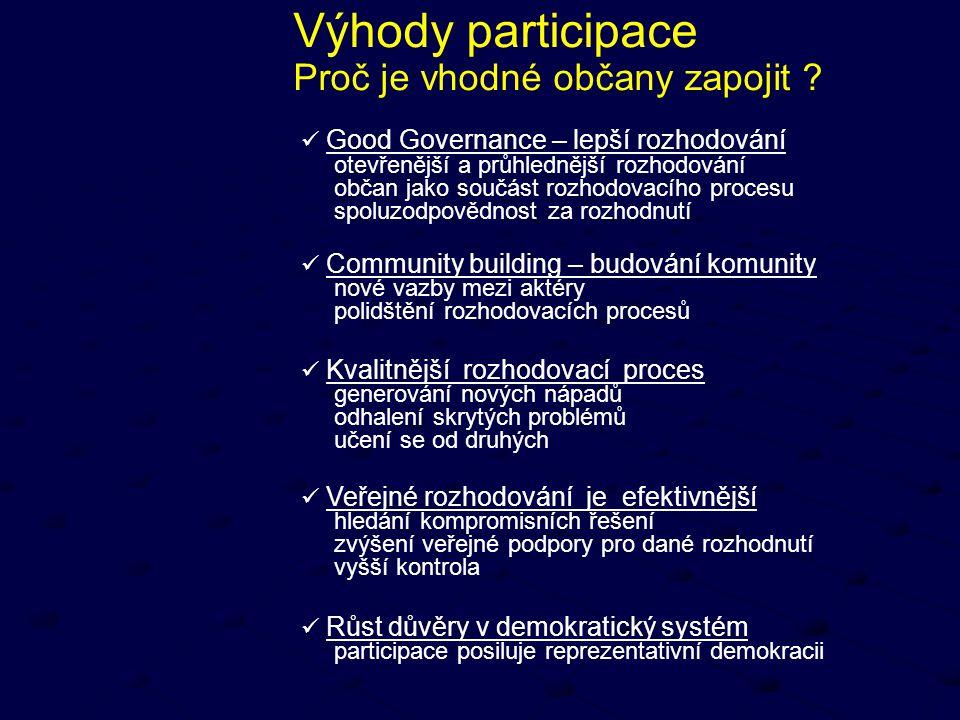 Výhody participace Proč je vhodné občany zapojit ? Good Governance – lepší rozhodování otevřenější a průhlednější rozhodování občan jako součást rozho