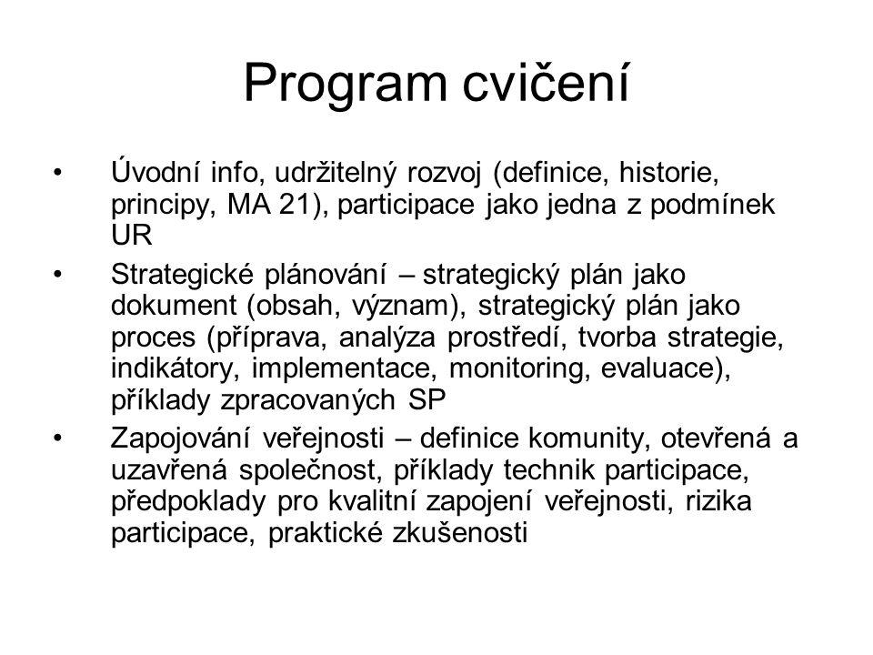 Program cvičení Úvodní info, udržitelný rozvoj (definice, historie, principy, MA 21), participace jako jedna z podmínek UR Strategické plánování – str