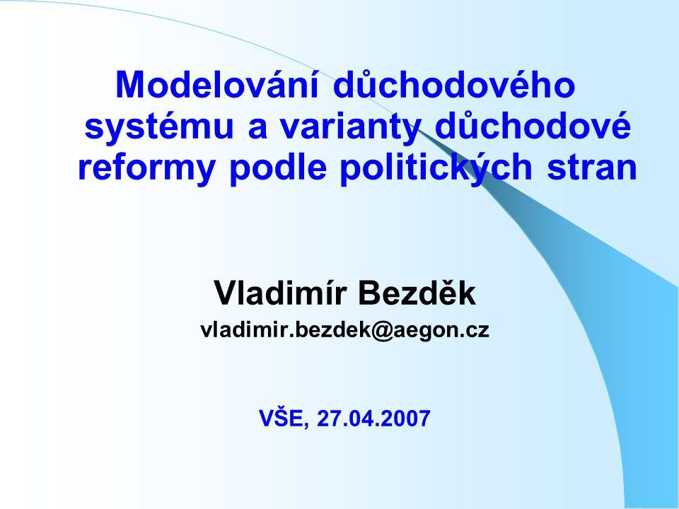 Modelování důchodového systému a varianty důchodové reformy podle politických stran Vladimír Bezděk vladimir.bezdek@aegon.cz VŠE, 27.04.2007