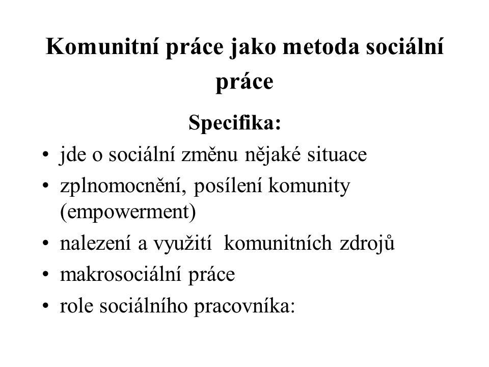 Typy komunitních organizací NNO : občanská sdružení v různých oblastech, o.p.s., nadace http://komunitninadace.cz/fondy/fondy-ustecke-komunitni- nadace/otevreny-grantovy-fond/prehled-podporenych- projektu/seznam-podporenych-projektu-22-otevreneho-grantoveho- kola/#c838http://komunitninadace.cz/fondy/fondy-ustecke-komunitni- nadace/otevreny-grantovy-fond/prehled-podporenych- projektu/seznam-podporenych-projektu-22-otevreneho-grantoveho- kola/#c838 nadační fondy, církevní organizace (charita, diakonie) Neziskové organizace - příspěvkové -s komunitními programy : muzea, knihovny, galerie, školy, informační centra http://www.sladovna.cz/akce/archiv http://www.sladovna.cz/akce/archiv http://www.knihovna-se.cz/ http://www.csopvlasim.cz/cs/454-o-nas Svazky obcí (mikroregiony) http://www.mikroregionblanik.cz/aktuality/aktuality.php http://www.mikroregionblanik.cz/aktuality/aktuality.php Volná sdružení občanů bez právní subjektivity, iniciativy občanů – happeningy, neighbourhood (sousedské aktivity) Další možné subjekty (např.
