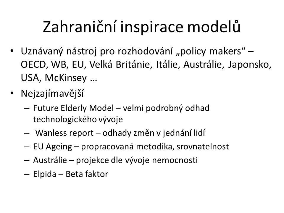 """Zahraniční inspirace modelů Uznávaný nástroj pro rozhodování """"policy makers – OECD, WB, EU, Velká Británie, Itálie, Austrálie, Japonsko, USA, McKinsey … Nejzajímavější – Future Elderly Model – velmi podrobný odhad technologického vývoje – Wanless report – odhady změn v jednání lidí – EU Ageing – propracovaná metodika, srovnatelnost – Austrálie – projekce dle vývoje nemocnosti – Elpida – Beta faktor"""