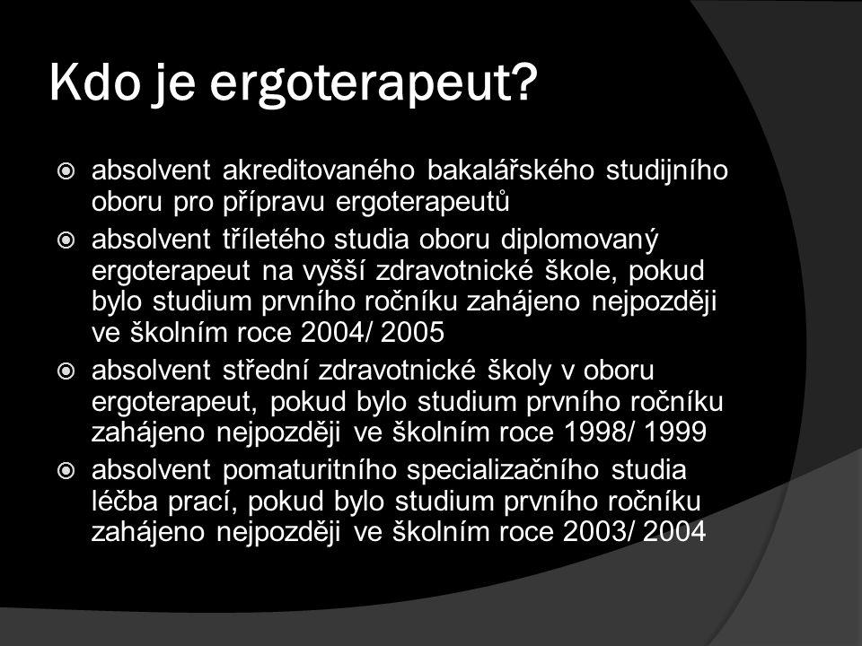 Kdo je ergoterapeut?  absolvent akreditovaného bakalářského studijního oboru pro přípravu ergoterapeutů  absolvent tříletého studia oboru diplomovan
