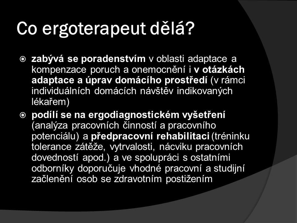 Co ergoterapeut dělá?  zabývá se poradenstvím v oblasti adaptace a kompenzace poruch a onemocnění i v otázkách adaptace a úprav domácího prostředí (v