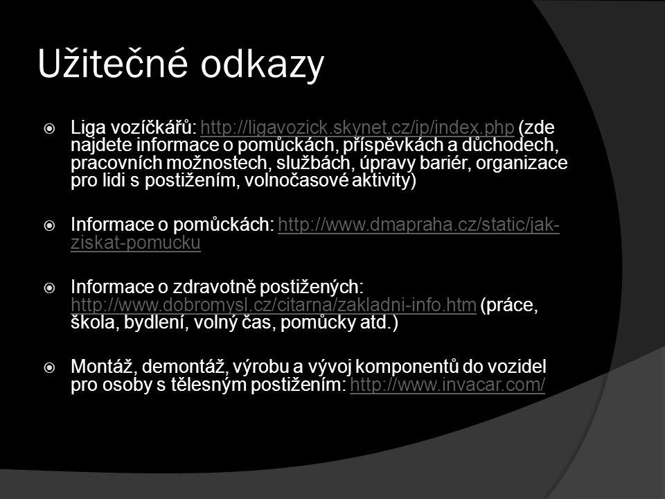 Užitečné odkazy  Liga vozíčkářů: http://ligavozick.skynet.cz/ip/index.php (zde najdete informace o pomůckách, příspěvkách a důchodech, pracovních mož