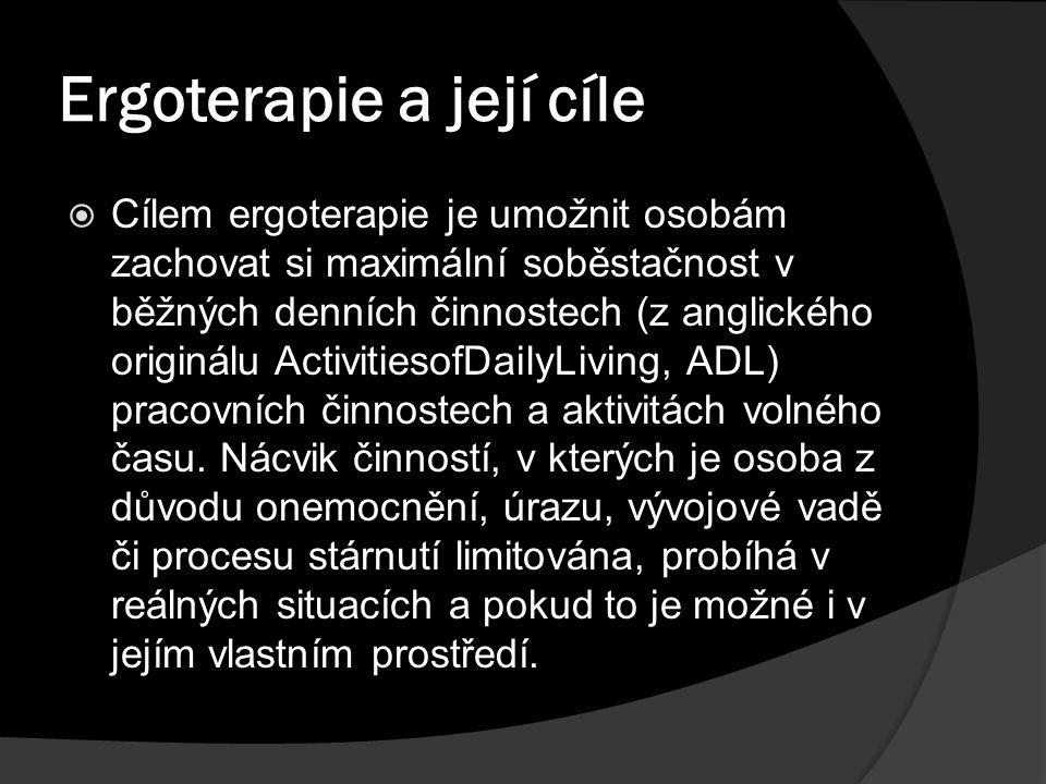 Ergoterapie a její cíle  Cílem ergoterapie je umožnit osobám zachovat si maximální soběstačnost v běžných denních činnostech (z anglického originálu