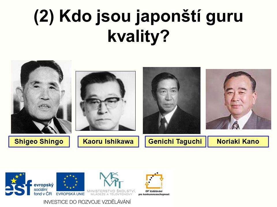 (2) Kdo jsou japonští guru kvality? Shigeo ShingoKaoru IshikawaGenichi TaguchiNoriaki Kano