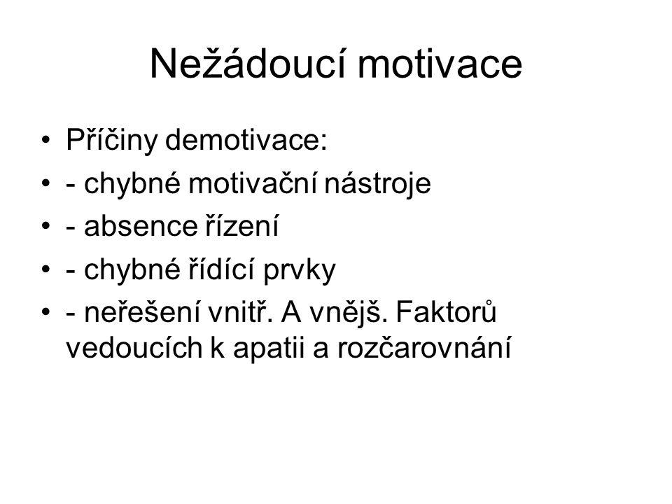 Nežádoucí motivace Příčiny demotivace: - chybné motivační nástroje - absence řízení - chybné řídící prvky - neřešení vnitř. A vnějš. Faktorů vedoucích