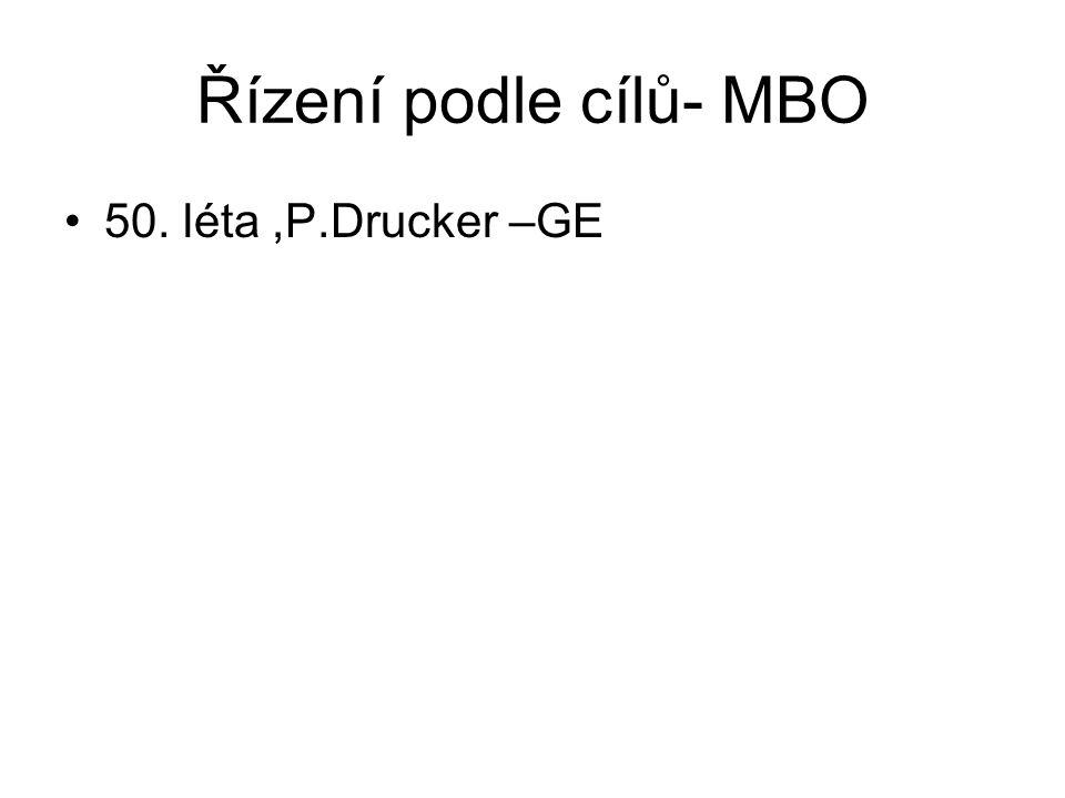 Řízení podle cílů- MBO 50. léta,P.Drucker –GE