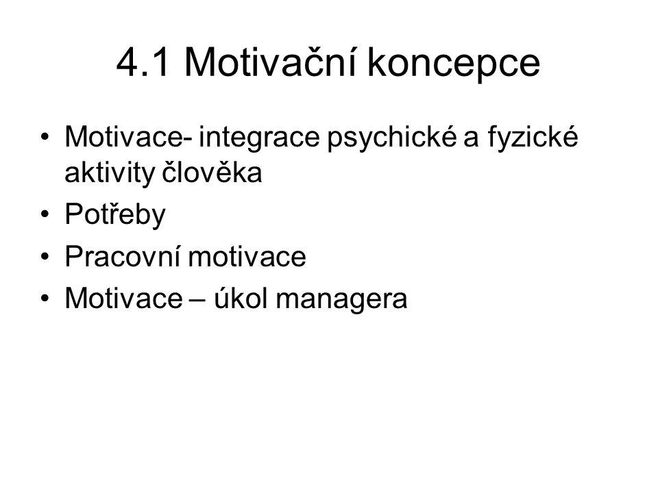 Vývoj motivačních koncepcí Koncepce racionálně se chovajícího člověka K.