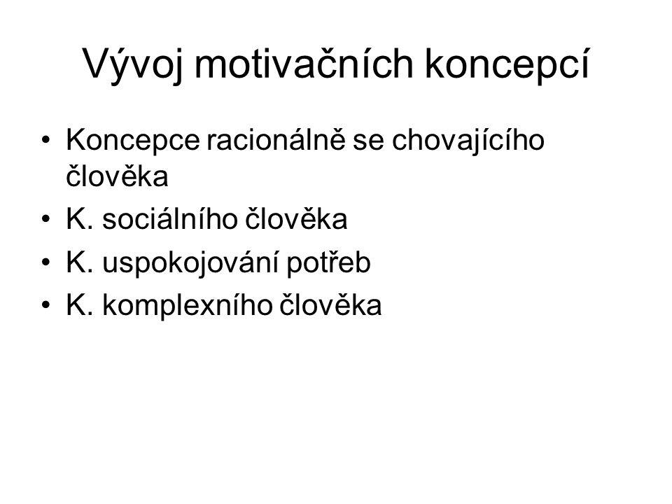 Vývoj motivačních koncepcí Koncepce racionálně se chovajícího člověka K. sociálního člověka K. uspokojování potřeb K. komplexního člověka