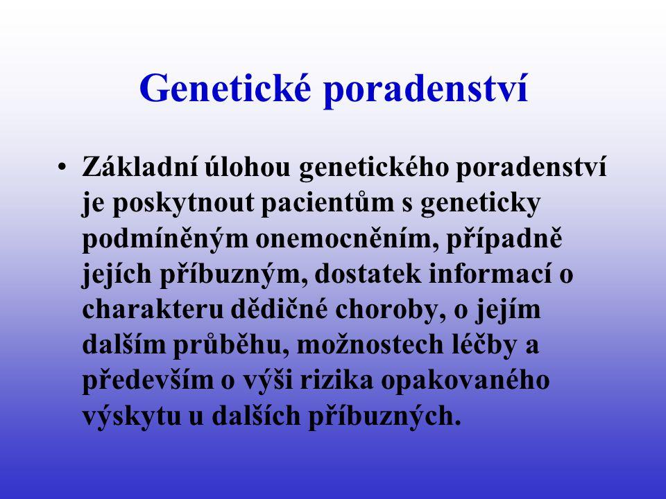 Genetické poradenství Základní úlohou genetického poradenství je poskytnout pacientům s geneticky podmíněným onemocněním, případně jejích příbuzným, dostatek informací o charakteru dědičné choroby, o jejím dalším průběhu, možnostech léčby a především o výši rizika opakovaného výskytu u dalších příbuzných.