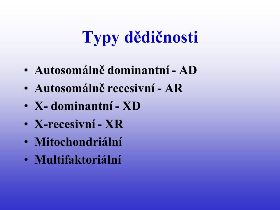 Typy dědičnosti Autosomálně dominantní - AD Autosomálně recesivní - AR X- dominantní - XD X-recesivní - XR Mitochondriální Multifaktoriální