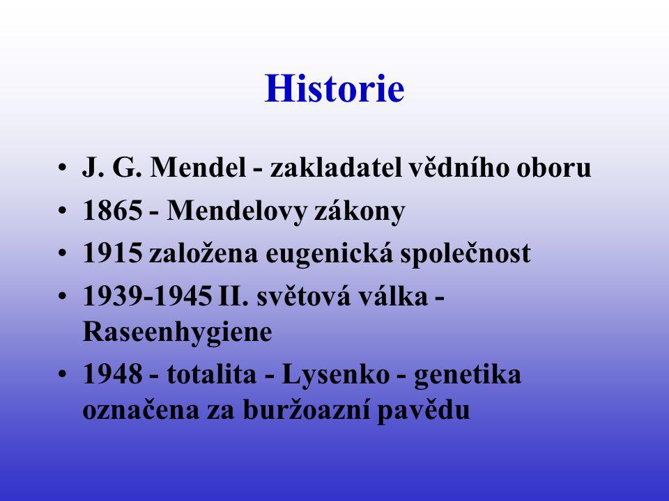 Historie - svět 1944 - funkce DNA 1953 - struktura DNA 1957 - 46 chromosomů u člověka 1957 - léčba fenylketonurie 1959 - M.