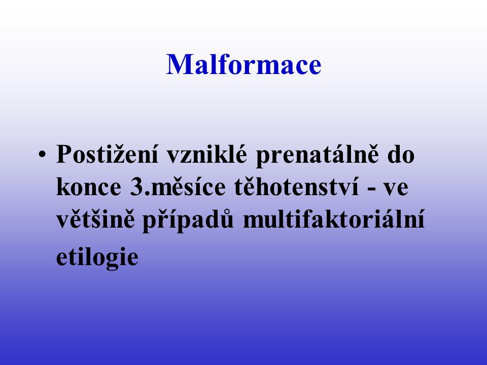 Malformace Postižení vzniklé prenatálně do konce 3.měsíce těhotenství - ve většině případů multifaktoriální etilogie
