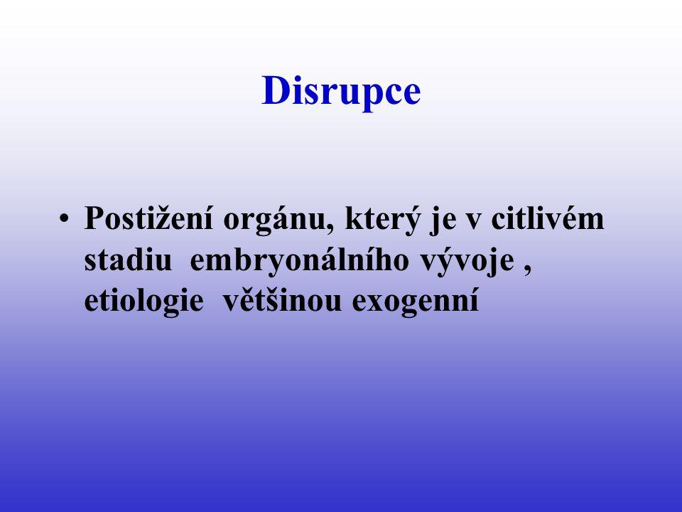 Disrupce Postižení orgánu, který je v citlivém stadiu embryonálního vývoje, etiologie většinou exogenní