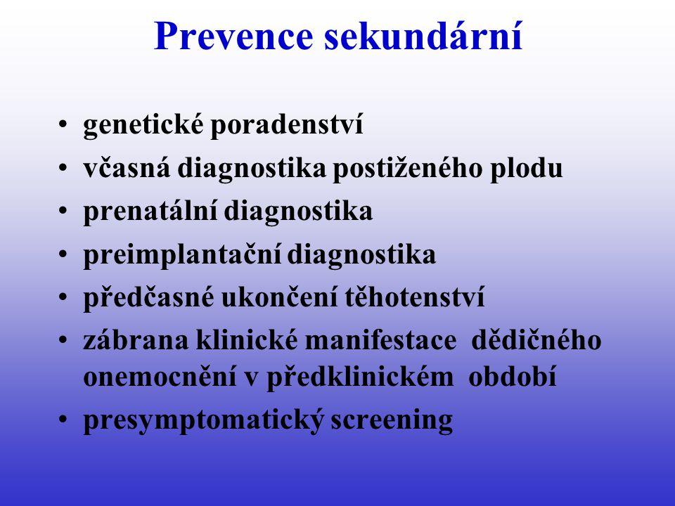 Prevence sekundární genetické poradenství včasná diagnostika postiženého plodu prenatální diagnostika preimplantační diagnostika předčasné ukončení těhotenství zábrana klinické manifestace dědičného onemocnění v předklinickém období presymptomatický screening