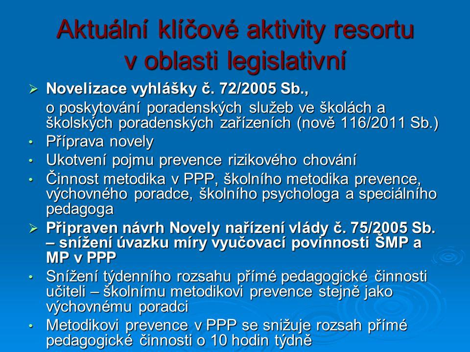 Aktuální klíčové aktivity resortu v oblasti legislativní  Novelizace vyhlášky č. 72/2005 Sb., o poskytování poradenských služeb ve školách a školskýc