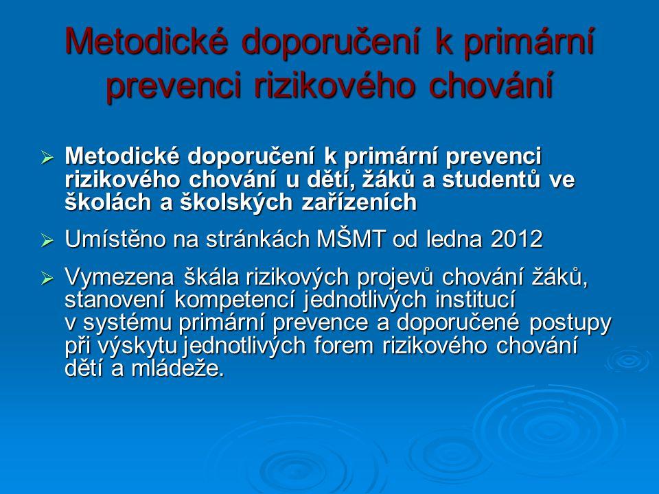 Metodické doporučení k primární prevenci rizikového chování  Metodické doporučení k primární prevenci rizikového chování u dětí, žáků a studentů ve š