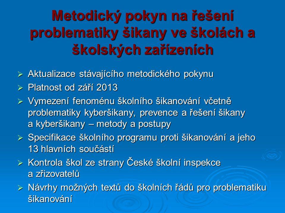 Metodický pokyn na řešení problematiky šikany ve školách a školských zařízeních  Aktualizace stávajícího metodického pokynu  Platnost od září 2013 
