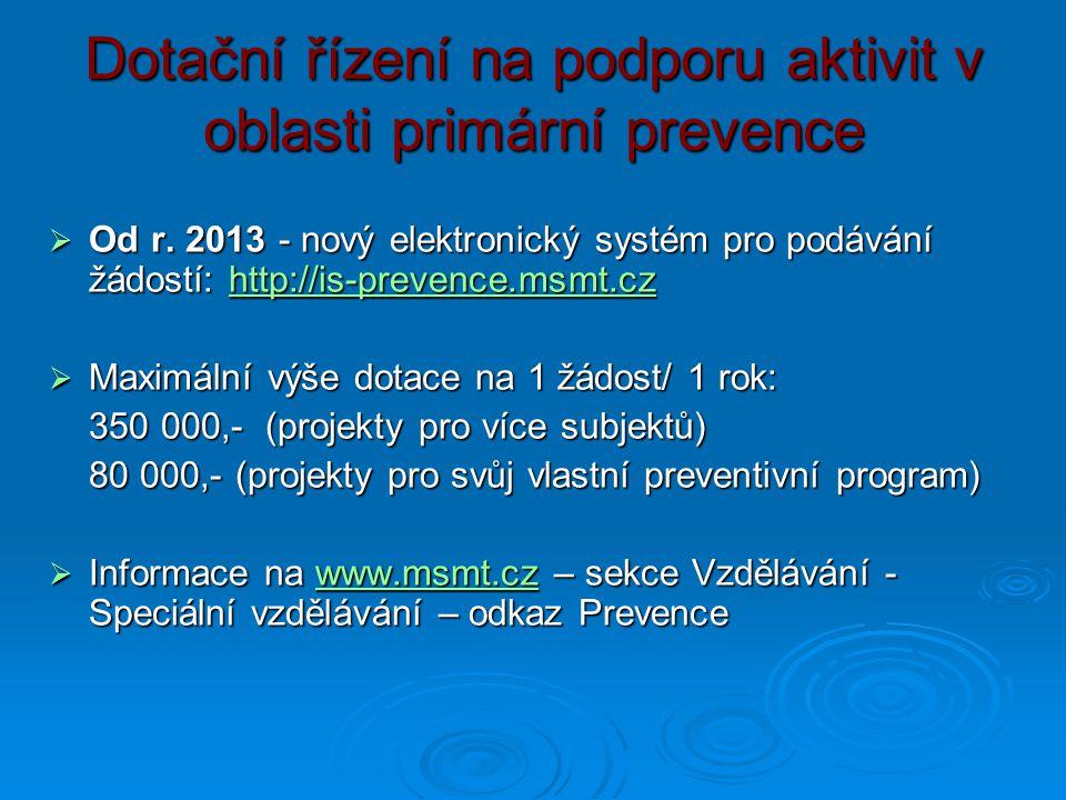 Dotační řízení na podporu aktivit v oblasti primární prevence  Od r. 2013 - nový elektronický systém pro podávání žádostí: http://is-prevence.msmt.cz