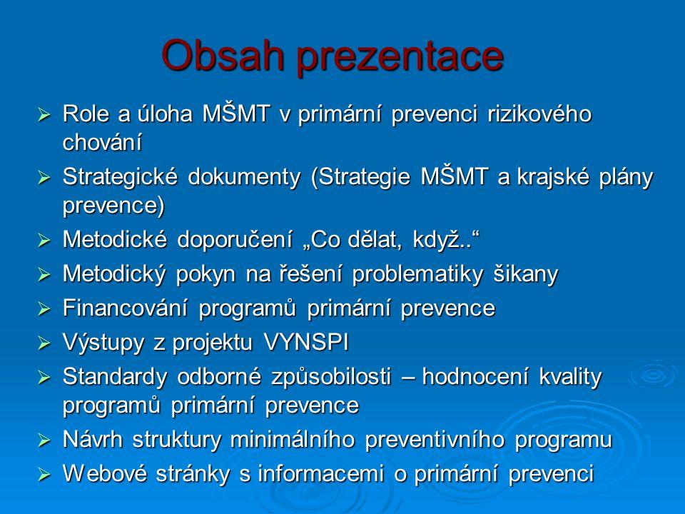 Obsah prezentace  Role a úloha MŠMT v primární prevenci rizikového chování  Strategické dokumenty (Strategie MŠMT a krajské plány prevence)  Metodi