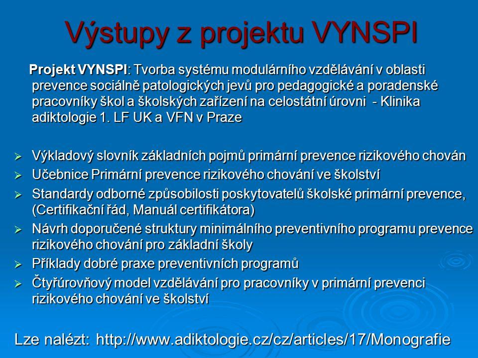 Výstupy z projektu VYNSPI Projekt VYNSPI: Tvorba systému modulárního vzdělávání v oblasti prevence sociálně patologických jevů pro pedagogické a porad