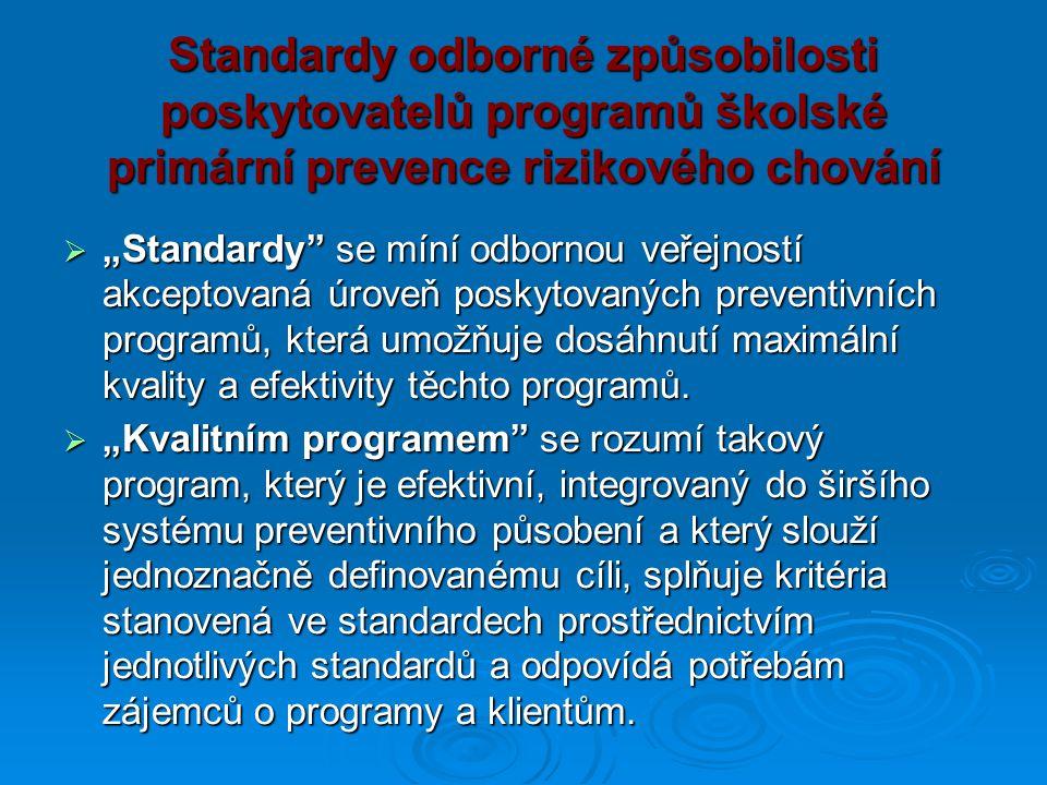 """Standardy odborné způsobilosti poskytovatelů programů školské primární prevence rizikového chování  """"Standardy"""" se míní odbornou veřejností akceptova"""