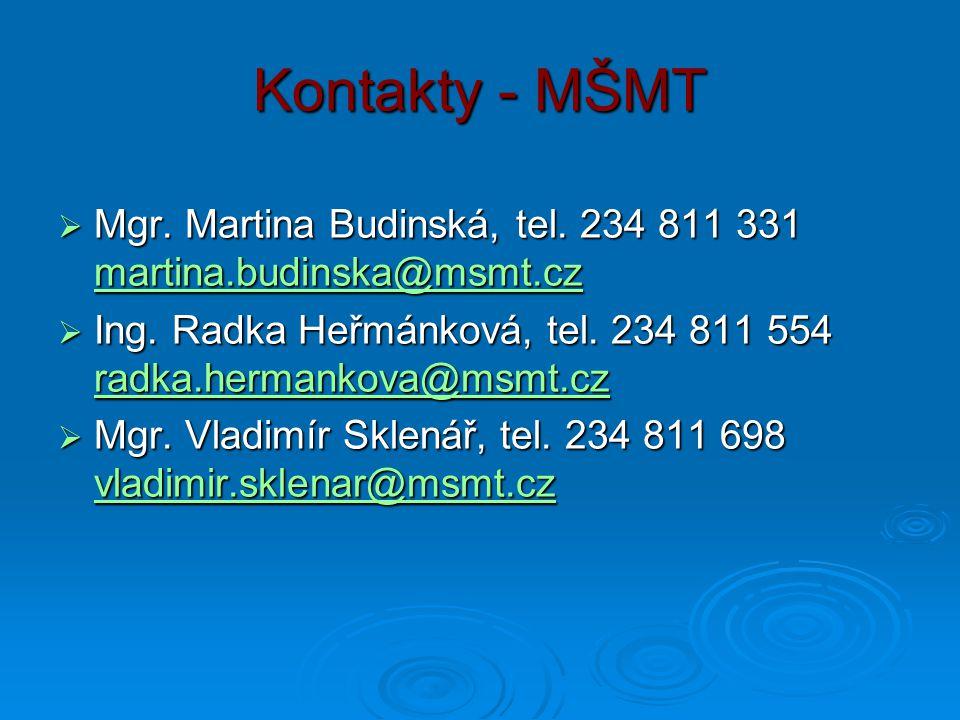 Kontakty - MŠMT  Mgr. Martina Budinská, tel. 234 811 331 martina.budinska@msmt.cz martina.budinska@msmt.cz  Ing. Radka Heřmánková, tel. 234 811 554