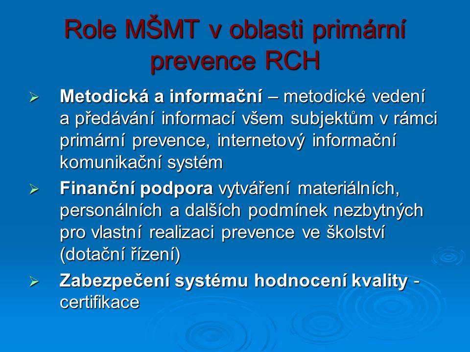 Role MŠMT v oblasti primární prevence RCH  Metodická a informační – metodické vedení a předávání informací všem subjektům v rámci primární prevence,