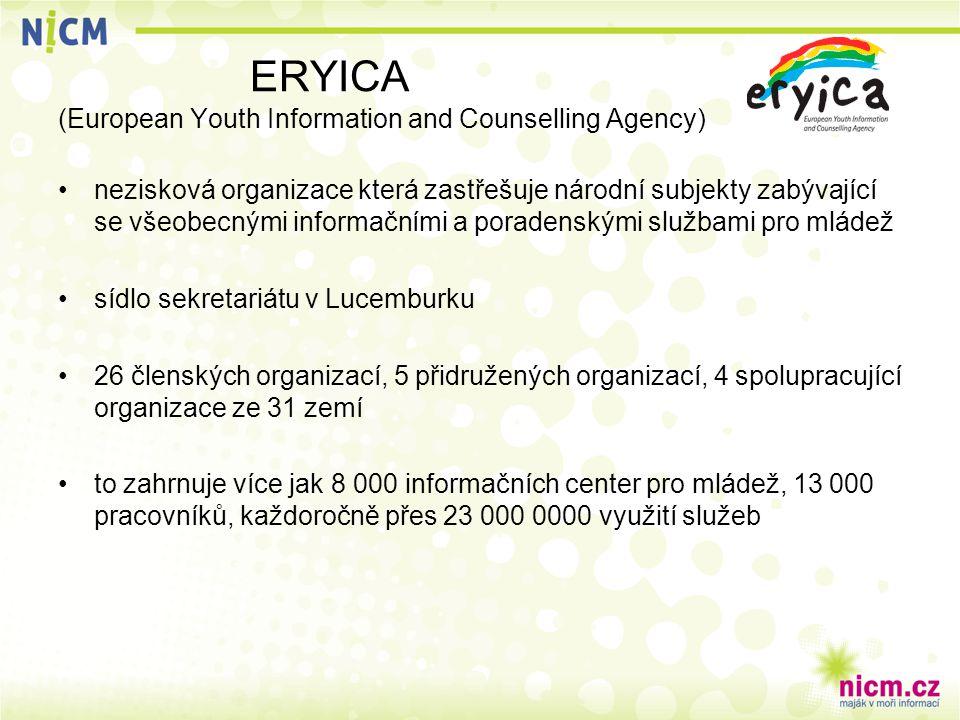 ERYICA (European Youth Information and Counselling Agency) nezisková organizace která zastřešuje národní subjekty zabývající se všeobecnými informačními a poradenskými službami pro mládež sídlo sekretariátu v Lucemburku 26 členských organizací, 5 přidružených organizací, 4 spolupracující organizace ze 31 zemí to zahrnuje více jak 8 000 informačních center pro mládež, 13 000 pracovníků, každoročně přes 23 000 0000 využití služeb