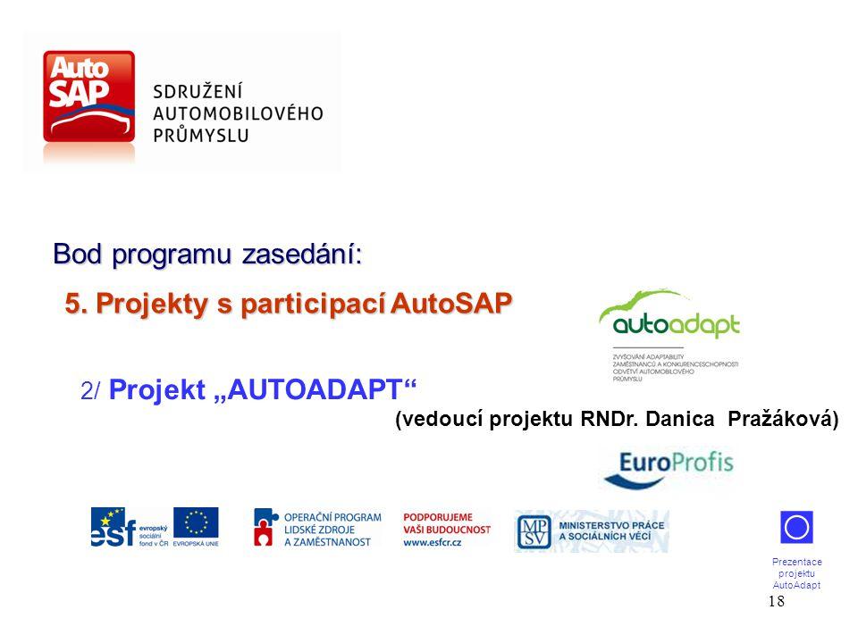 """18 Bod programu zasedání: 2/ Projekt """"AUTOADAPT (vedoucí projektu RNDr."""