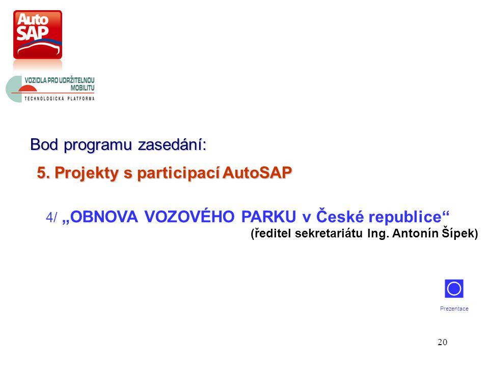 """20 Bod programu zasedání: 4/ """"OBNOVA VOZOVÉHO PARKU v České republice (ředitel sekretariátu Ing."""