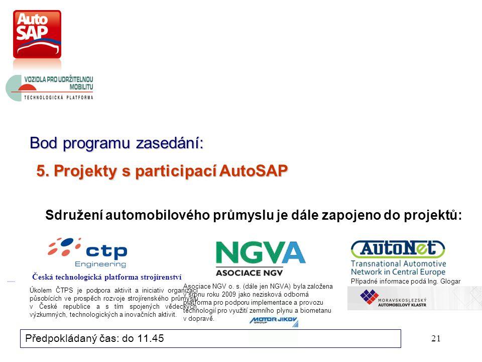 21 Bod programu zasedání: Předpokládaný čas: do 11.45 Sdružení automobilového průmyslu je dále zapojeno do projektů: 5.