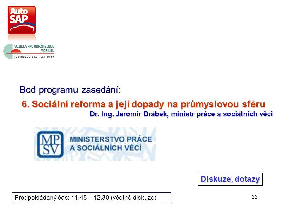 22 Bod programu zasedání: Předpokládaný čas: 11.45 – 12.30 (včetně diskuze) 6.