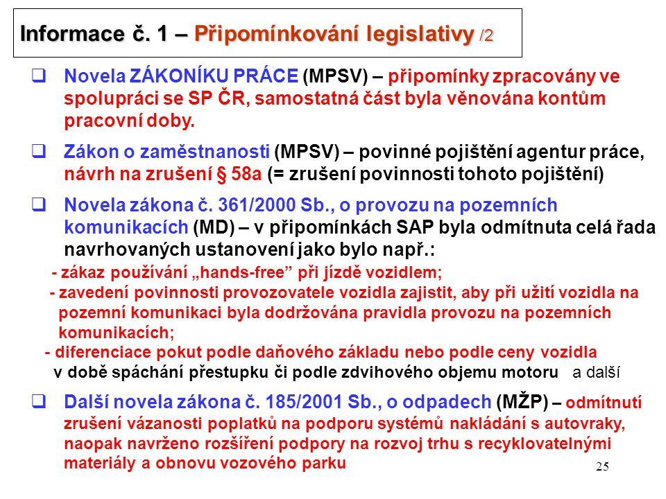 25 Informace č. 1 – Připomínkování legislativy /2 .