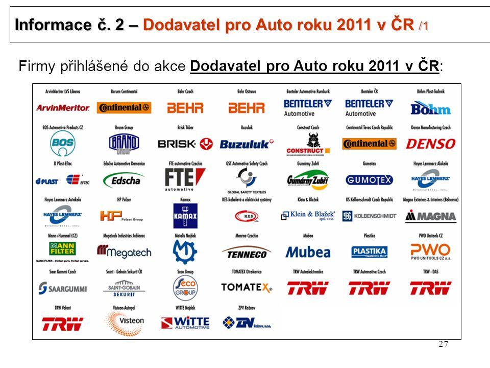 27 Informace č. 2 – Dodavatel pro Auto roku 2011 v ČR /1 .