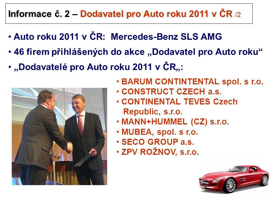 28 Informace č. 2 – Dodavatel pro Auto roku 2011 v ČR /2 .