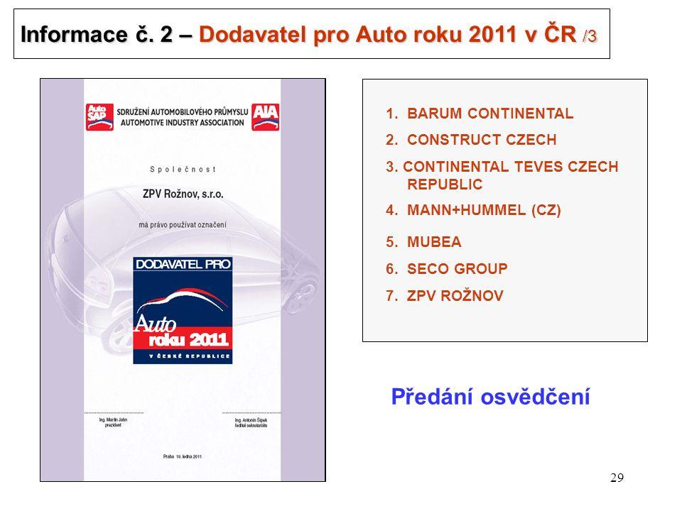 29 Informace č. 2 – Dodavatel pro Auto roku 2011 v ČR /3 Předání osvědčení 3.