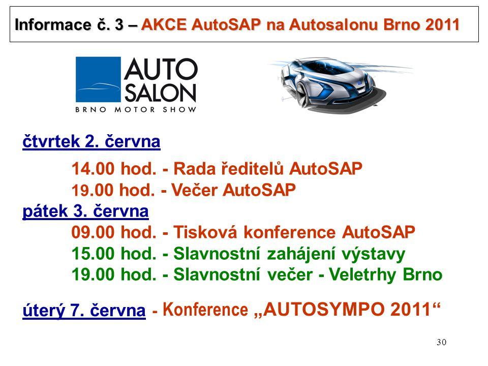 30 Informace č.3 – AKCE AutoSAP na Autosalonu Brno 2011 .