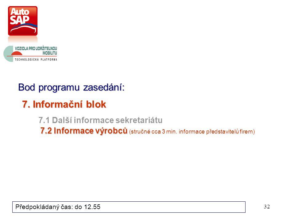 32 Bod programu zasedání: Předpokládaný čas: do 12.55 7.