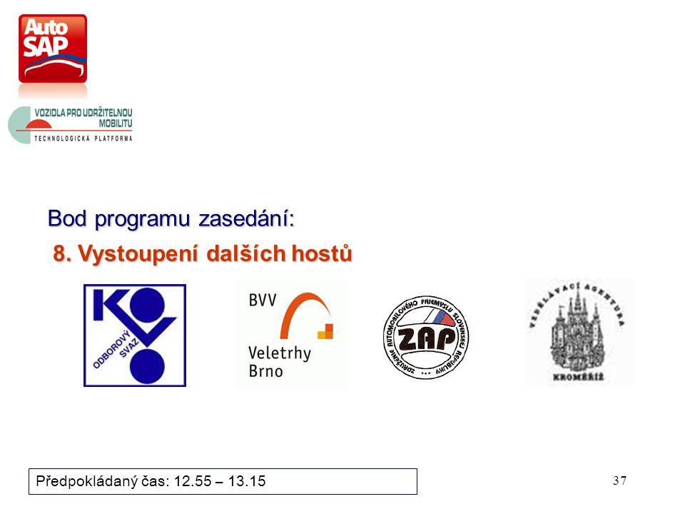 37 Bod programu zasedání: Předpokládaný čas: 12.55 – 13.15 8. Vystoupení dalších hostů