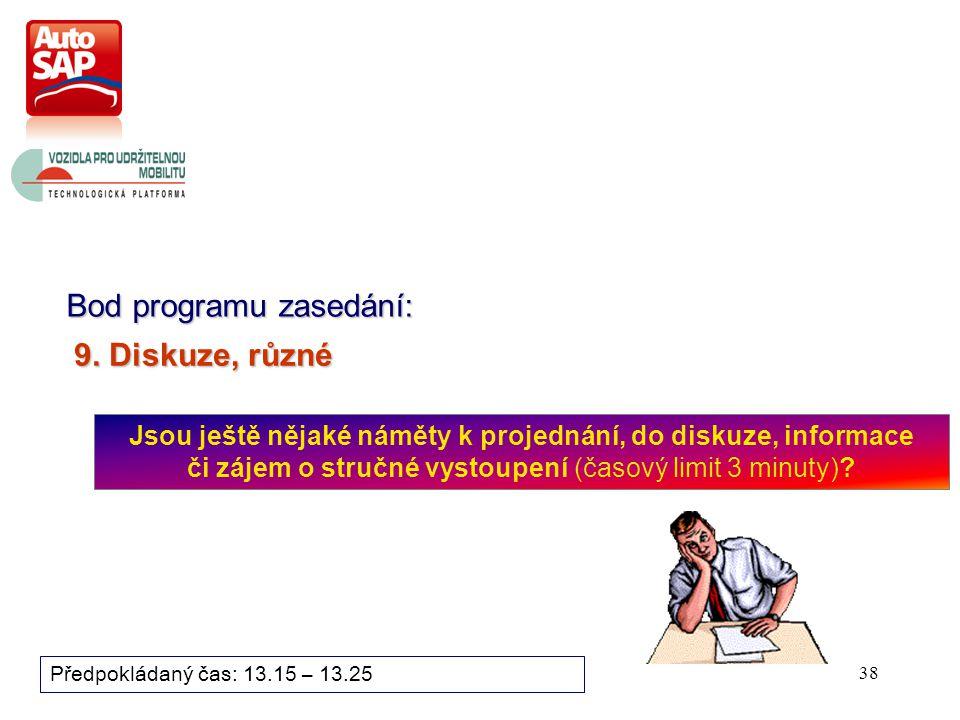 38 Bod programu zasedání: Předpokládaný čas: 13.15 – 13.25 9.