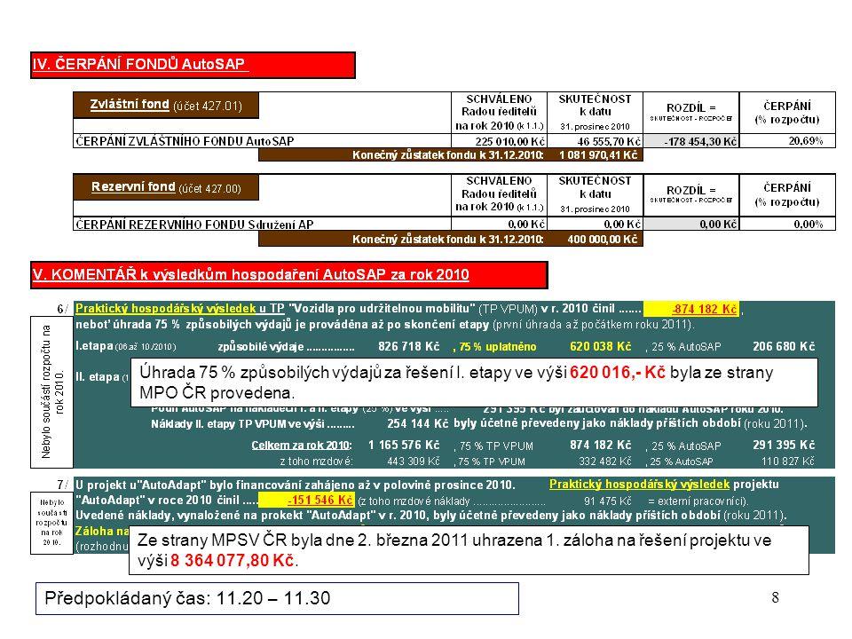 """19 Bod programu zasedání: 3/ """"AKTIVITY AUTOSAP V OBLASTI VZDĚLÁVÁNÍ V TECHNICKÝCH PROFESÍCH Projekt """"IQ INDUSTRY a portál """"AUTA NÁS BAVÍ (viceprezident Ing."""