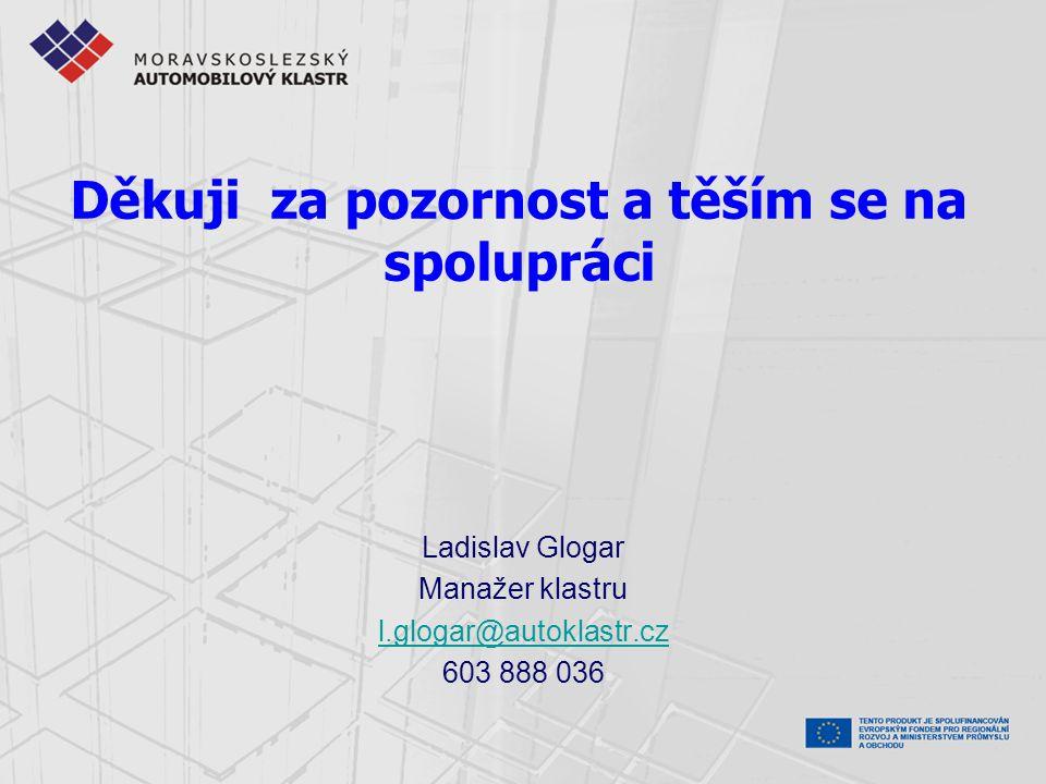 Děkuji za pozornost a těším se na spolupráci Ladislav Glogar Manažer klastru l.glogar@autoklastr.cz 603 888 036