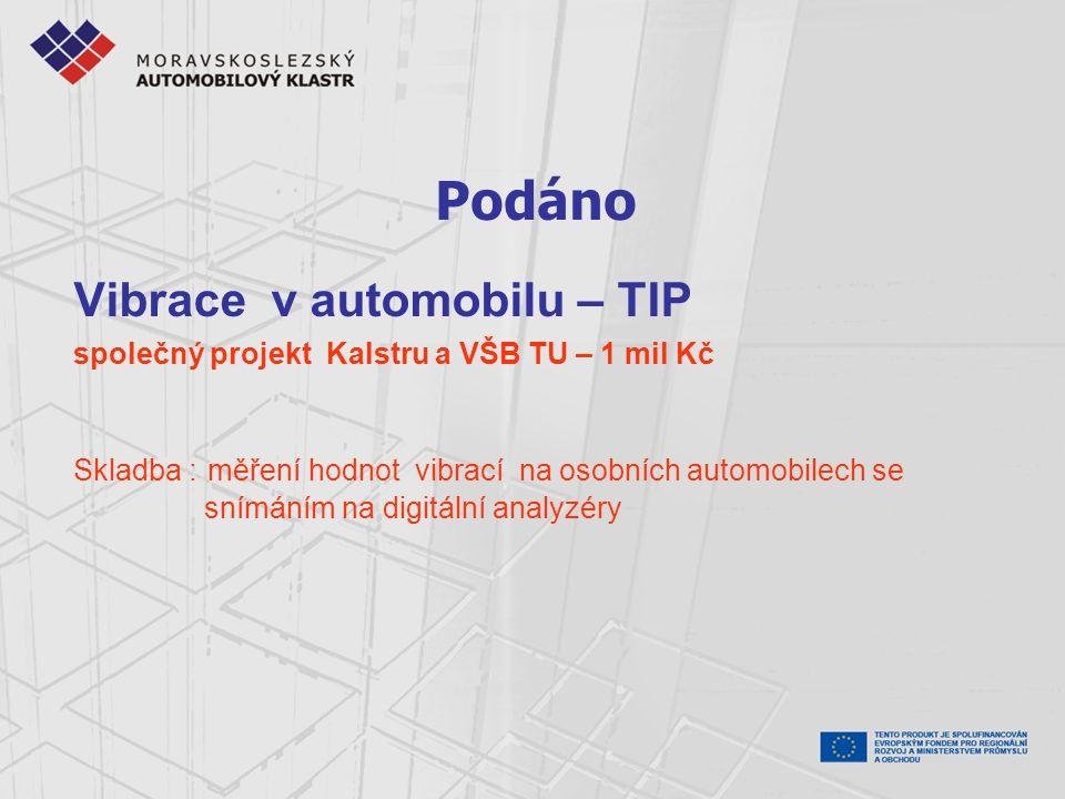 Podáno Vibrace v automobilu – TIP společný projekt Kalstru a VŠB TU – 1 mil Kč Skladba : měření hodnot vibrací na osobních automobilech se snímáním na digitální analyzéry