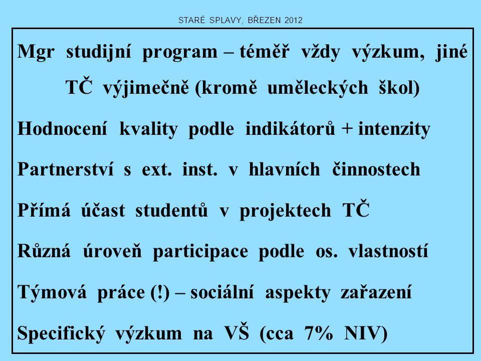 STARÉ SPLAVY, BŘEZEN 2012 Mgr studijní program – téměř vždy výzkum, jiné TČ výjimečně (kromě uměleckých škol) Hodnocení kvality podle indikátorů + int