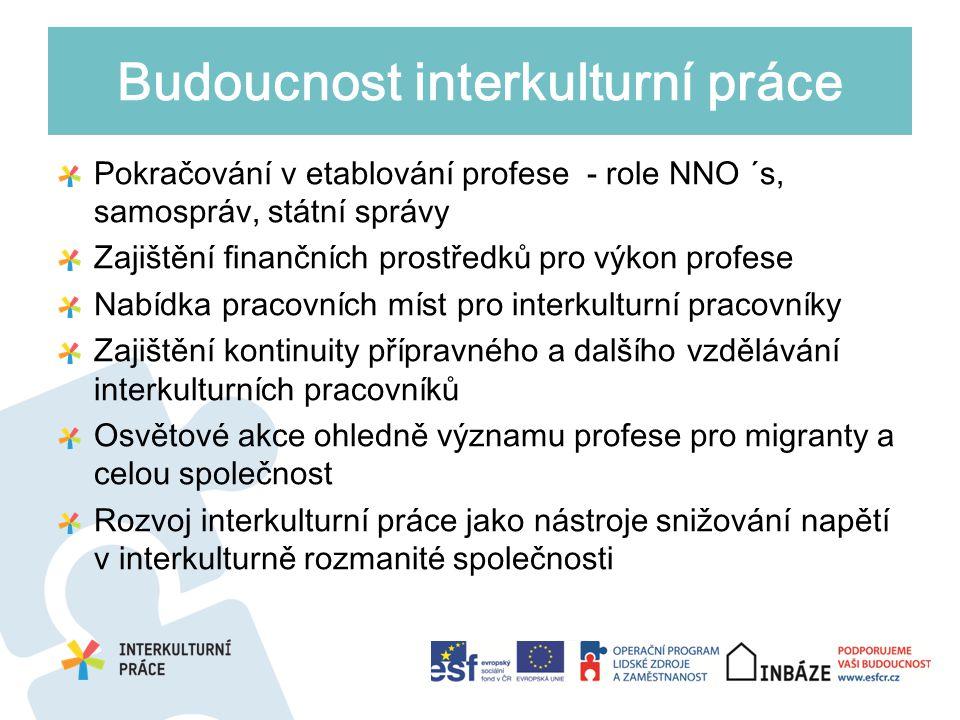 Pokračování v etablování profese - role NNO ´s, samospráv, státní správy Zajištění finančních prostředků pro výkon profese Nabídka pracovních míst pro